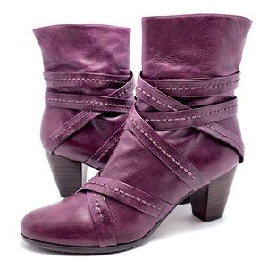 Everybody by BZ Moda Purple Leather Ankle Boots